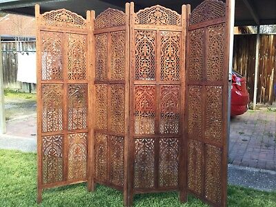carved wooden screen with 4 sections, room divider, privacy