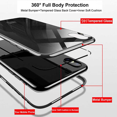 Tempered Glass Cover Magnetic Adsorption Metal Case For  iPhone Xs MAX XR