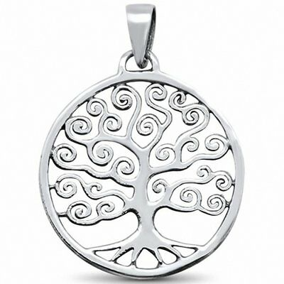 Pendant Charm Tree of Life Solid 925 Sterling Silver Choose Color