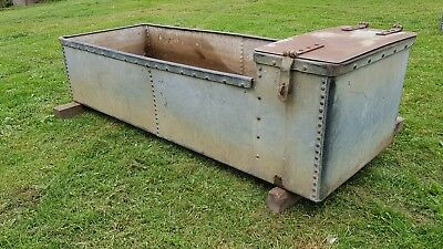 Vintage water trough galvanised  weathered riveted trough tank planter 6ft