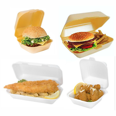 Small Medium Large Polystyrene Foam Food Containers Takeaway Boxes HB6 HB10 HP6