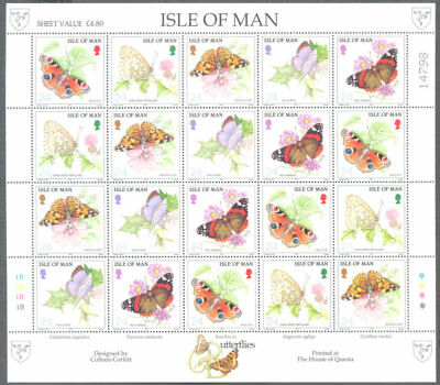 Isle of Man-Butterflies 1993 complete sheet mnh-Insects