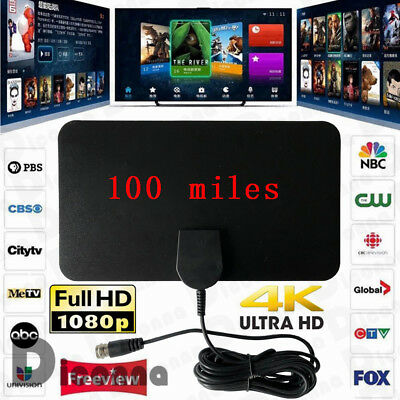 Antenna 100 Miles Range TV Digital HD Skywire TV Indoor 1080P 4K 10ft Coax Cable