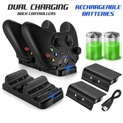 Dual Charging Dock Station Controller Charger W/ 2 Battery Pack For XBOX ONE ZX