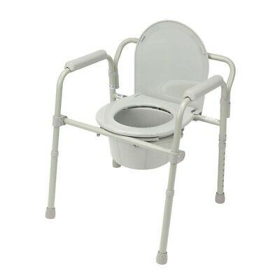 Drive Medical Folding Steel Bedside Commode with 12 qt. Commode Bucket White