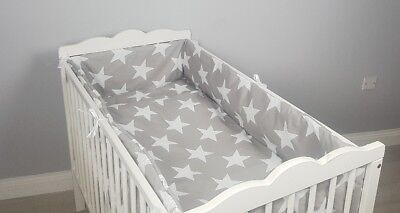 3pc bedding set ALL ROUND BUMPER padded filled for cot / cot bed GREY STARS