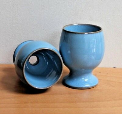 Denby Colonial Blue Egg Cups Pale Blue Light Blue X 2