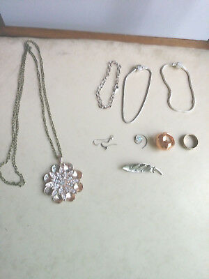 9 Piece Assortment Costume Jewelry Necklace 3-Bracelets,2-Rings, Pin, Hair Swirl