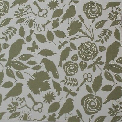 """2 Sheets Of Craft 6""""x 6"""" Scrapbooking Or Card Making Paper Flowers Birds Key"""