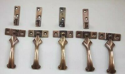 Reclaimed Vintage Set of  Window Handles-Metal 4 with catches, 1 without catch