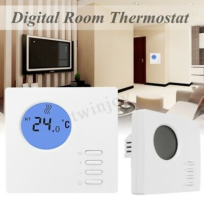 Digital Lcd Screen  Electronic Room Thermostat Hard Wired Unit Eco Button Kit