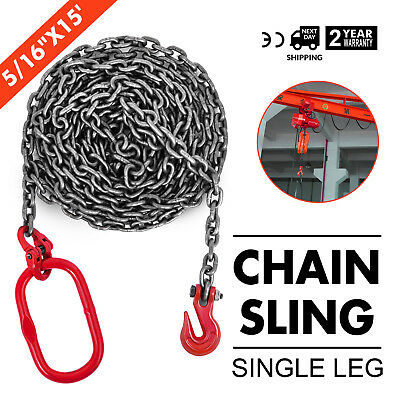 5/16 x15 GRADE 80 Chain Sling SOG Ports Single Oblong Hook Machinery