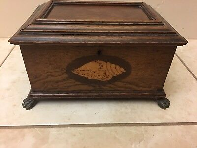 Antique 19th Century Mahogany? Tea Caddy Conch Shell Marquetry Inlays Brass Feet