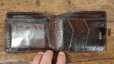 VINTAGE 1950s ENGLISH MADE TAN BROWN BIFOLD CALF SKIN LEATHER WALLET WITH CLASP