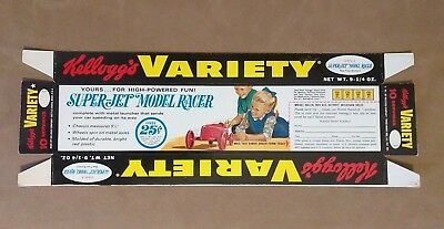 1965 Kelloggs Variety Cereal Tray - Uncut Never Used- Model Racer Offer on back.