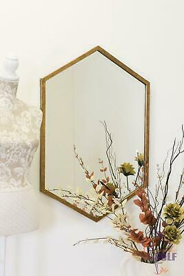 Extra Large Gold Hexagonal Bevelled Wall Mirror 90 cms x 60cms