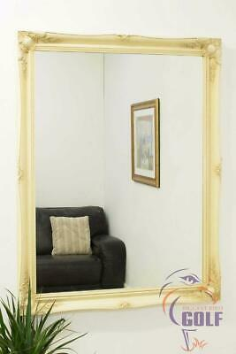 Extra Large Ivory Ornate Antique Style Big Wall Mirror 3Ft10 X 3Ft 116cm x 91cm