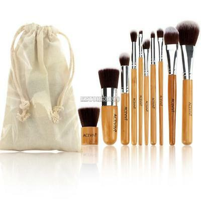 10er Kosmetik Echthaare Professionelle Makeup Brush Schminkpinsel Pinsel Set