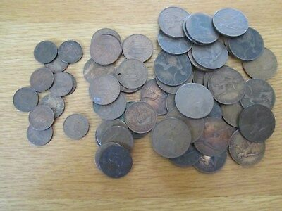 Job Lot of One Penny & Two Penny & Farthing Coins x 66