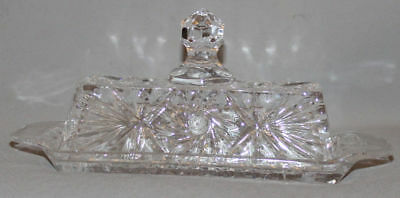 Vintage European Cut Glass Crystal Serving Dessert Tray With Lid