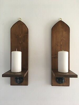 """Reclaimed Pair Of Large Arched Wood Wall Sconce. 20""""/52cm, Gothic ,Rustic,Candle"""