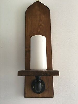 """1 X Reclaimed Large Arched Wood Wall Sconce. 20""""/52cm, Gothic ,Rustic, Candle"""
