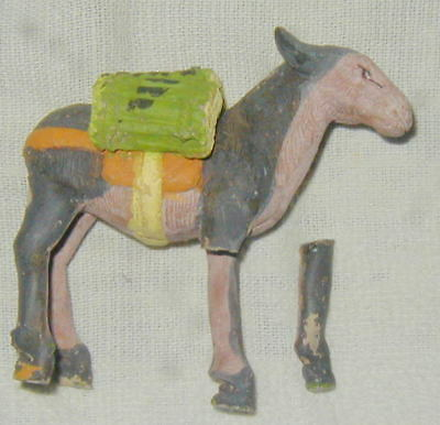 Old Hand Made Mexican Folk Art Pottery Donkey Figurine, Hand Painted, Nativity?