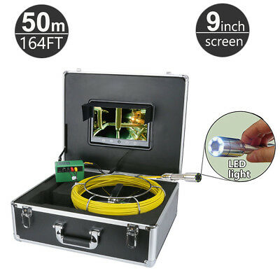 """50M (164FT) Sewer Snake Camera Pipe Pipeline Drain  Inspection System 9"""" monitor"""