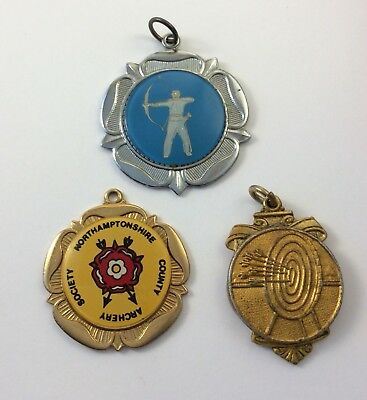 Three (3) Vintage Archery Club Medals Northamptonshire