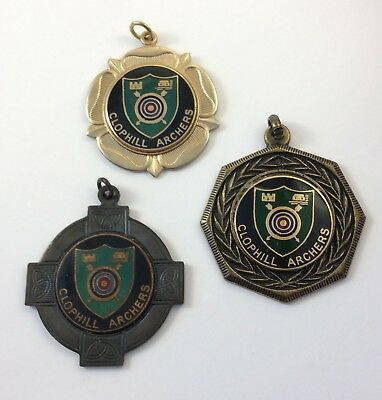 Three (3) Vintage 1980S Clophill Archers Gents Enamel Medals Archery Club