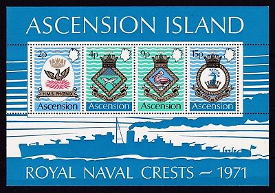 ASCENSION #152-155a MNH COATS OF ARMS OF ROYAL NAVAL SHIPS