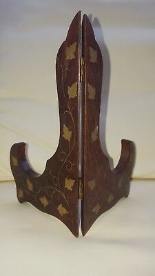 Vintage Brass Inlaid Wood Wooden Decorative Plate Display Stand/base Wood