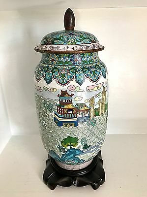 """Old RARE 16"""" ~Chinese Cloisonne Jar Lid ~Mystical Mountains ~Palace ~Fine Stand"""