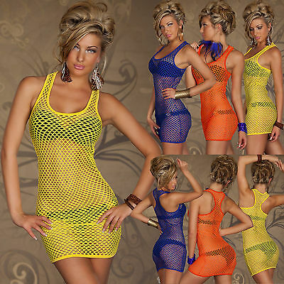 New Clubbing Women Mini Dress Sexy Ladies Fishnet Shirts Party Top Size 6 8 10