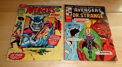 Marvel The Avengers Comics x 2 Issues No 23 1974 And No 77 1975 Rare Dr Strange