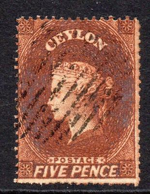 Ceylon 5 Pence Stamp c1861-64 (SG 22) Used (clean cut perf) (2)