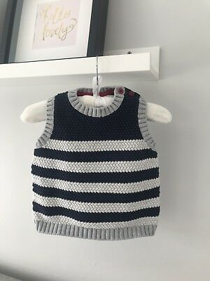 The Little White Company Baby Boys Navy And Grey Stripe Tank Top, 6-9 Months