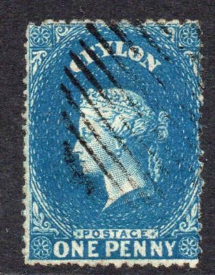 Ceylon 1 Penny Deep Blue Stamp c1861-64  Used (intermediate cut perf) (1)