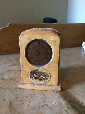 Antique Mauchline Ware Clock Form Money Box - Popping Stone Gilsland - 4 1/2""