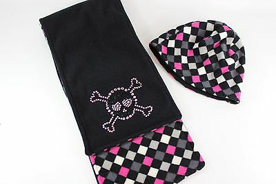 Joe Boxer Girls Blk/Pink/White/Gray Checkered Scarf & Hat w/Skull...size OS  GUC
