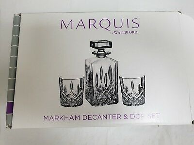 Marquis Waterford Double Old Fashioned Glasses Pair & Square Decanter Set
