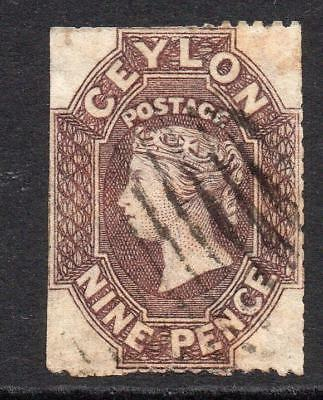 Ceylon 9 Pence Stamp c1861-64 Used (rough perf) (4)