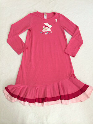 Gymboree M 7 8 Pink Bunny Rabbit Flower Butterfly Tiered Ruffle Nightgown Pajama