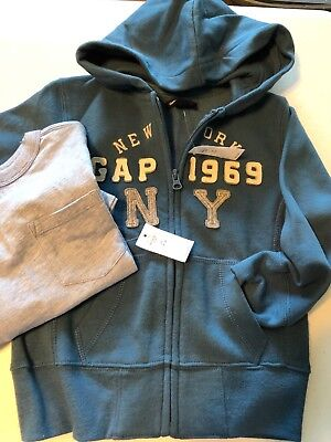 New Gap Kids Boy's xs 4-5 Hoodie & Shirt Full Zip Soft Fleece Blue L/S shirt
