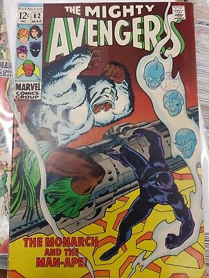 "Avengers #62 Mar 1969 Very Fine  ""monarch & The Ape Man"" Black Panther / Ape Man"