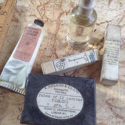 vintage homeopathic items, various