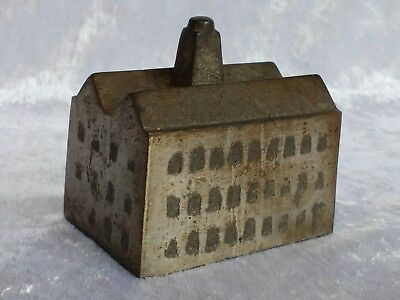 Antique steel paperweight modelled as a textile mill/factory Indust.Revolution