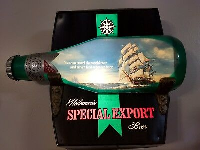 1970s Special Export Lighted Ship in a Bottle Beer Sign, Heilemans RARE Complete