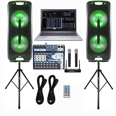 Professional Laptop Karaoke System, DJ Karaoke Speakers, Mixer, Microphones