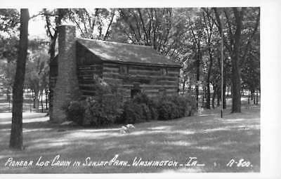 Washington Iowa Log Cabin Sunset Park Real Photo Antique Postcard K104327